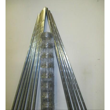 Set 150, 1Rolle Wildzaun sehr engmaschig 150 cm Höhe und 13 Z-Profil Zaunpfosten mit je 210cm Höhe L150/19/15